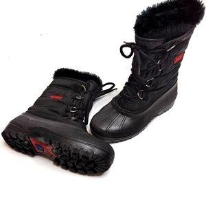 SOREL Faux-Fur-Lined Duck Boots Black Size 6